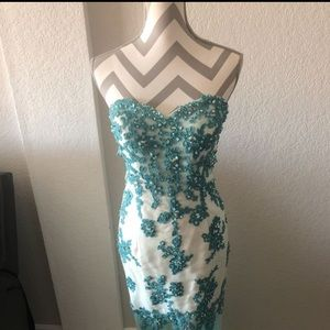 Long White & Blue w bead Cinderella Dress Size 12